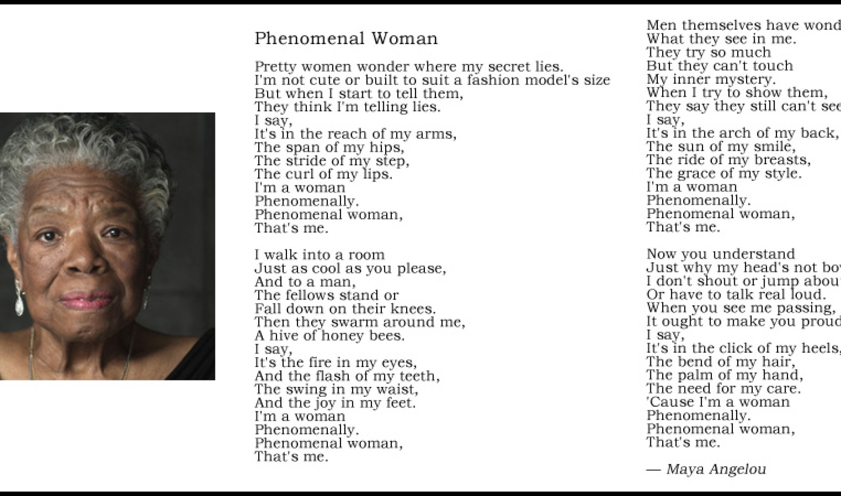 phenomenal woman 2 essay Phenomenal woman essay submitted by alaskandra words: 512 phenomenal woman in this poem, maya angelou is the narrator who is referring to herself she explains that she may not be a model and act perfect, but accepts and loves who she is.